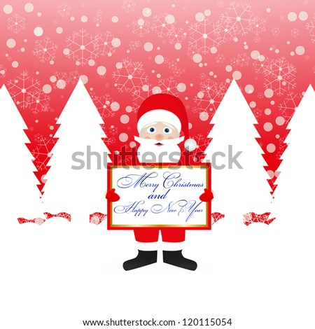 Santa Claus with a congratulatory banner in hands - stock photo