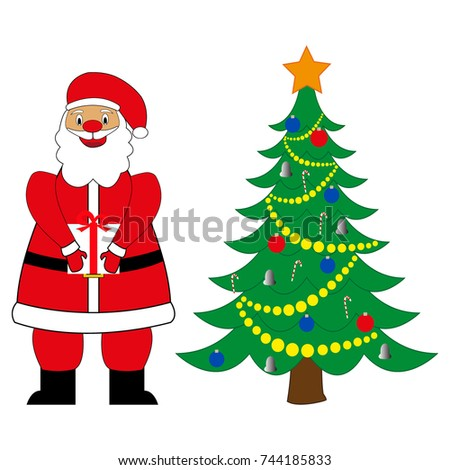 santa claus with a gift near the new year tree - Santa Claus Tree