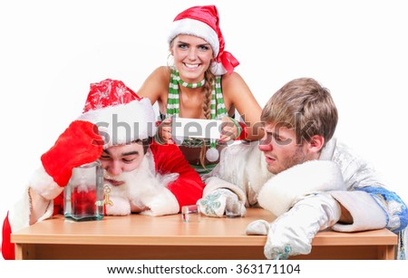 Santa Claus with a hangover sitting at a table, and the Snow Maiden holding in her hand a white card