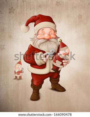 Santa Claus with a mechanical doll - stock photo
