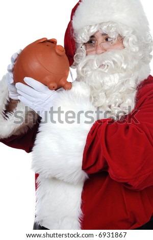 Santa Claus with a pig money box over white background
