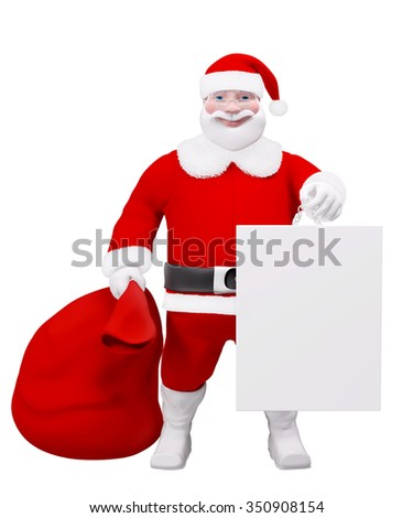 Santa Claus with a red sack and a poster isolated over white 3d rendering - stock photo