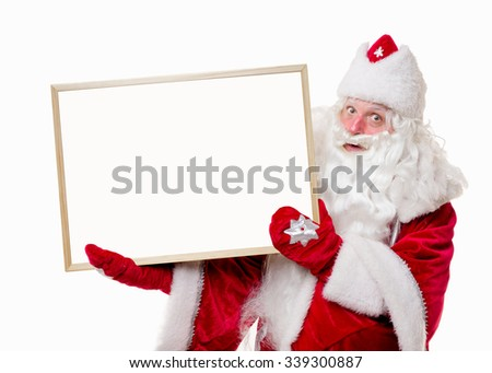Santa Claus with big white board on white background. Isolated