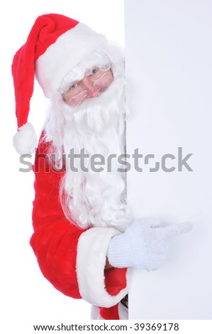 Santa Claus with Blank Sign isolated on white