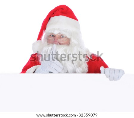 Santa Claus with Blank Sign isolated on white making shh sign with finger in front of face