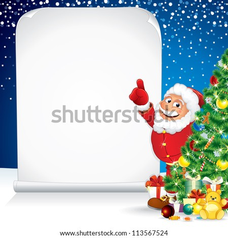 Santa Claus with Christmas Gifts and Wishing List - stock photo