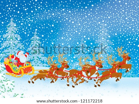 Santa Claus with Christmas gifts drives in his sleigh pulled by reindeers through a snow-covered forest in snowstorm - stock photo