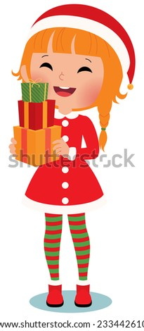 Santa Claus with christmas gifts on a white background/Child Santa Claus on a white background/Illustration Santa Claus  with a white background in full length - stock photo