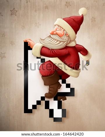 Santa Claus with credit card rides arrow cursor - stock photo