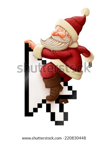 Santa Claus with credit card rides arrow cursor - stock photo