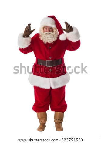 Santa Claus with crossed fingers Portrait making a with Isolated on White Background