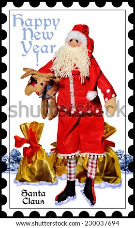 Santa Claus with gifts on the background of the winter forest.Happy New Year!  Merry Christmas.Postage stamps.Doll. - stock photo