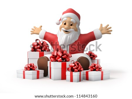 Santa Claus with gifts on white background, 3d with work-path
