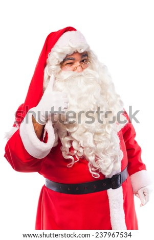 santa claus with glases and white gloves making signs with his hands on white background
