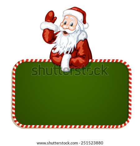 Santa Claus with green blank sign - stock photo
