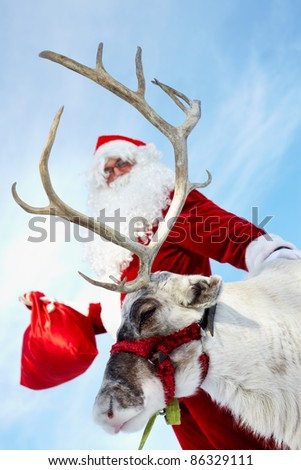 Santa Claus with his reindeer ready for a ride - stock photo