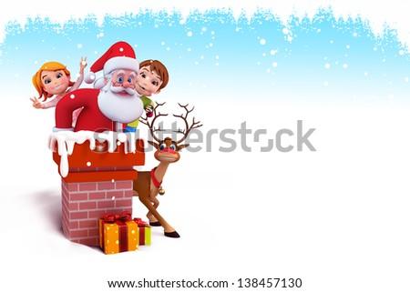 santa claus with kids - stock photo