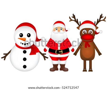 Santa Claus with reindeer and a snowman standing on a white background