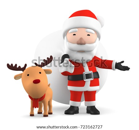 Santa Claus with reindeer, 3D illustration