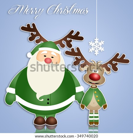 Santa Claus with reindeer with green dress
