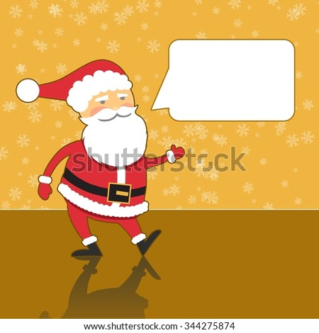 Santa Claus with speech bubble, modern gold background, flat design style - stock photo