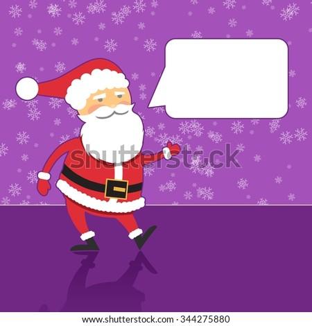 Santa Claus with speech bubble, purple background, flat design style - stock photo