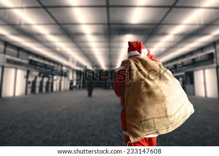 Santa Claus with the bag of the presents  - stock photo