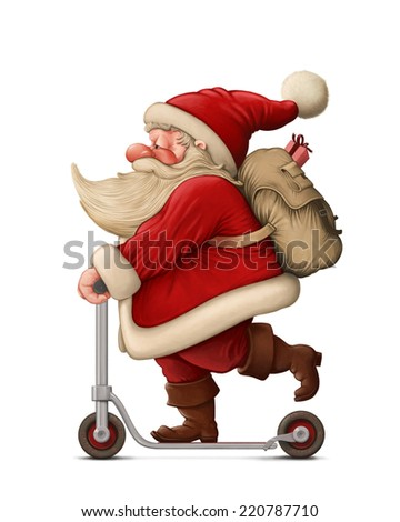 Santa Claus with the Push scooter delivery the gifts