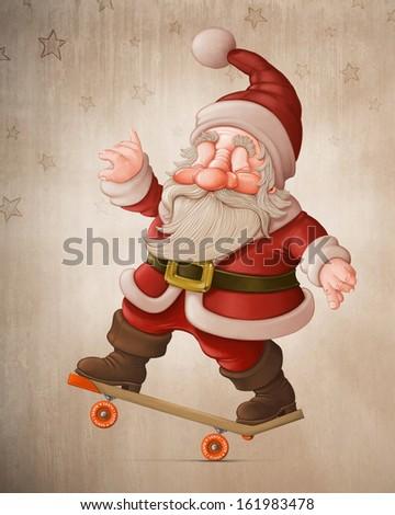 Santa Claus with the skateboard makes acrobatics - stock photo