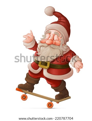 Santa Claus with the skateboard makes acrobatics - stock photo