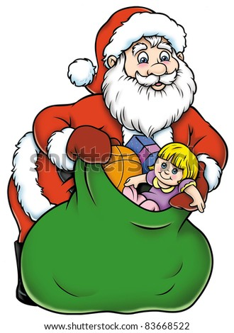 Santa Claus with toy bag