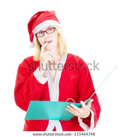 Santa claus with wish list - stock photo