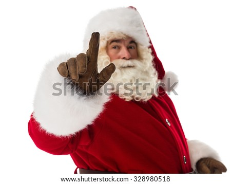 Santa Claus working with virtual interface Closeup Portrait