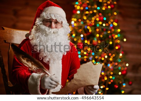 Santa Claus writing message