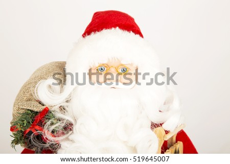 santa, clause ,christmas ,winter, white, background, red ,eyes , blue ,Santa Claus with a bag on his back