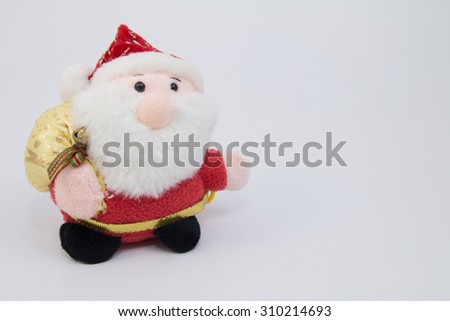 Santa clause doll on white background
