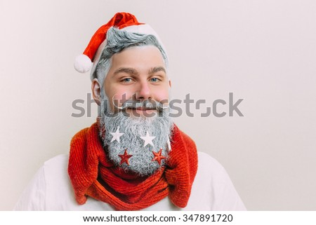 Santa Clause horizontal. Happy New Year. Marry Christmas. Decorated beard - stock photo