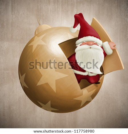 Santa Clause inside the decorative ball illustration - stock photo
