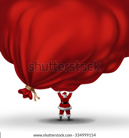 Santa Clause lifting a huge bag  full of gifts and presents with a blank area for copy or text as a festive christmas symbol and winter holiday metaphor for the season of giving. - stock photo