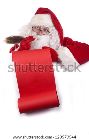 Santa Clausthinking and  holding a red scroll , making a christmas checklist, isolated on white background