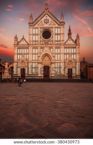 Santa Croce basilica (Basilica of the Holy Cross) in Florence, Italy, at sunset.