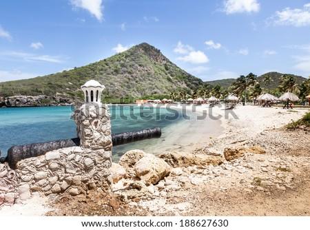 Santa Cruz a free local beach on Curacao, Caribbean - stock photo