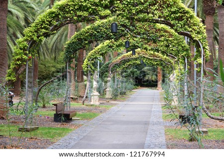 Santa Cruz de Tenerife, Spain - beautiful park area, Garcia Sanabria park - stock photo