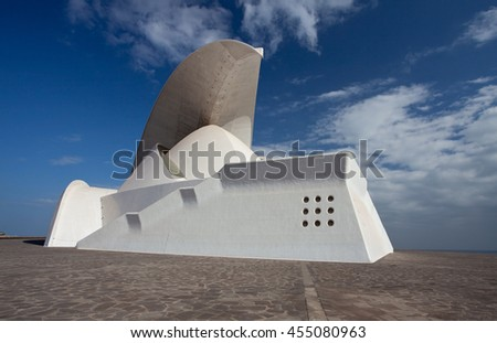 Santa Cruz De Tenerife, Spain - March 29, 2012: Auditorio building in Santa Cruz de Tenerife, Canary Island. This auditorium was designed by famous architect Santiago Calatrava