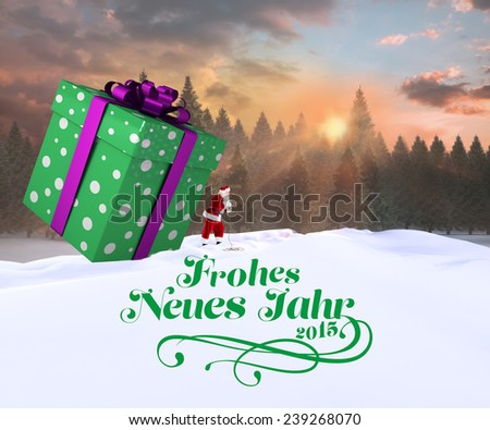Santa delivering large gift against fir tree forest in snowy landscape - stock photo