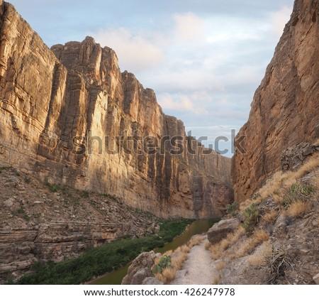 Santa Elena Canyon and the Rio Grand River Big Bend National Park - stock photo