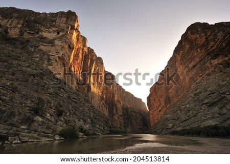 Santa Elena Canyon on the Rio Grande river, border of United States and Mexico. Big Bend National Park, Texas, United States. - stock photo
