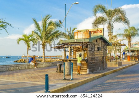 SANTA ELENA, ECUADOR, MARCH - 2016 - Tropical urban scene at malecon in La Libertad, a coastal city located in Ecuador, South America