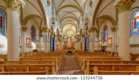 SANTA FE, NEW MEXICO - DECEMBER 5: Interior of the Saint Francis Cathedral, is a Roman Catholic cathedral in Santa Fe, New Mexico on  December 5, 2012