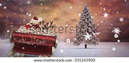 Santa flying his sleigh against composite image of fir trees in snowy landscape